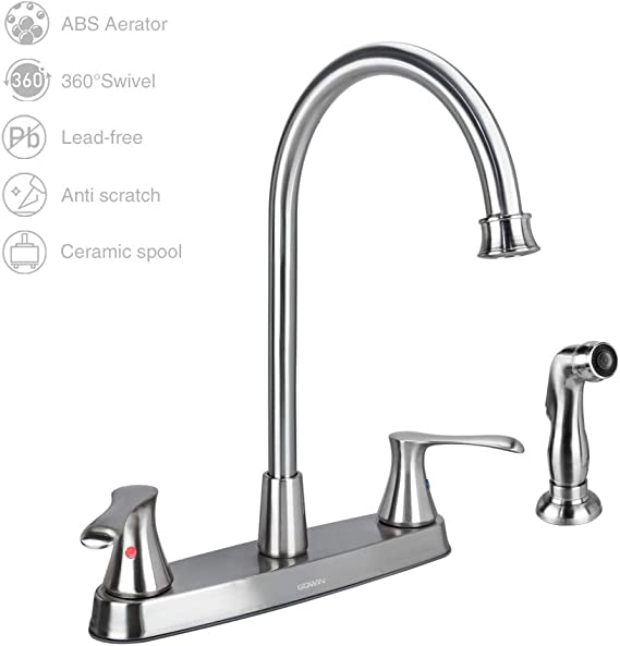 GOWIN Brushed Nickel Kitchen Faucet with Side Sprayer