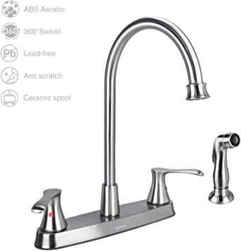 Gowin Brushed Nickel Kitchen Faucet With Side Sprayer 2 Handle