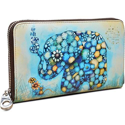 YALUXE Elephant Leather Passport Checkbook