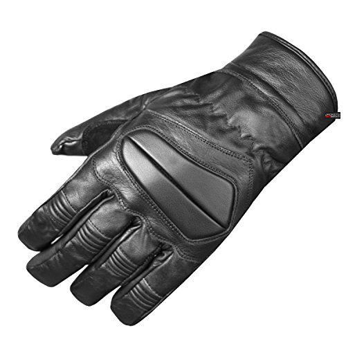 Premium Men Winter Leather Super Armor Short Motorcycle Cruiser Biker Gloves L