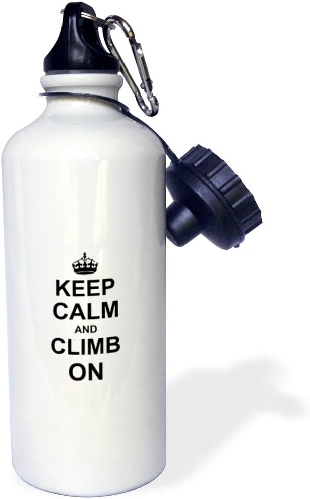 """3dRose wb_157698_1""""Keep Calm and Climb on-carry on climbing-gift for rock climbers-black fun funny humor humorous"""" Sports Water Bottle, 21 oz, White"""