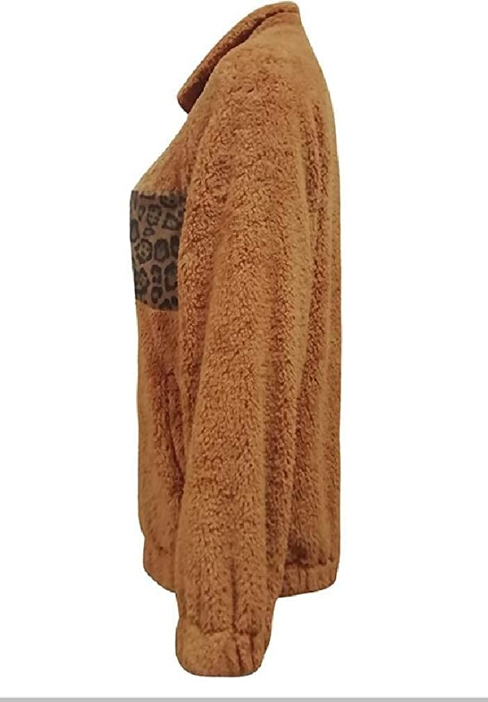 pipigo Womens Pocket Autumn Winter Long Sleeve Fluffy Zipper Sweatshirt