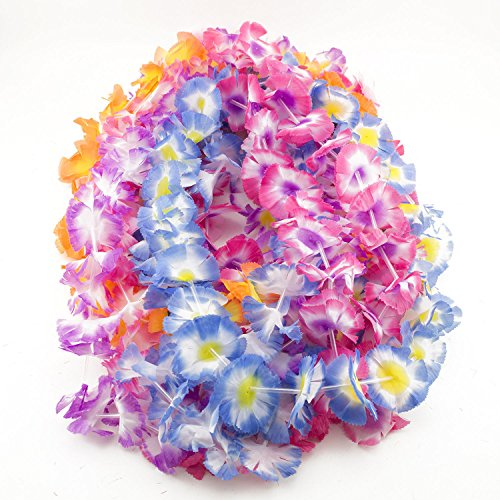 50 Pc Simulated Colorful Faux Silk Party Luau LEIS Hawaiian Party Favors (Abbey Bominable Halloween Makeup)