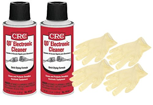 CRC QD Electronic Cleaner (4.5 Wt Oz.) Bundle with Latex Gloves (6 Items)