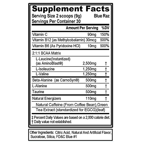 Evlution Nutrition BCAA Energy - Energizing Amino Acid for Muscle Building Recovery and Endurance, Blue Raz, 9.5 Ounces, 30 Servings