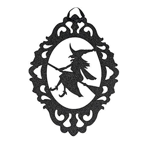 Fun Express - Halloween Silhouette Glitter Sign for Halloween - Party Decor - Wall Decor - Cutouts - Halloween - 1 Piece ()