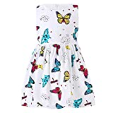 SMILING PINKER Little Girls Dress Butterfly Swing Party Summer Cotton Dresses for Baby Toddler (White, 5-6)