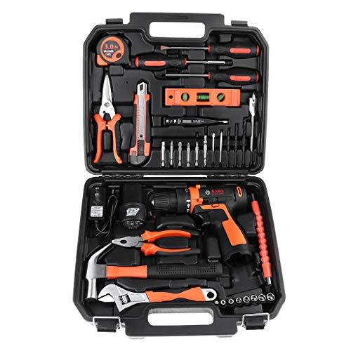 Miulika 12V Max Cordless Drill & Home Tool Kit 35 Piece Power Tools Kit General Household Repairing Mixed Tool Set with Drill Bits Sockets Screwdriver Hammer Toolbox Storage Case...