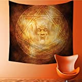 Home Decor Demon Trap Symbol Logo Ceremony Creepy Ritual Paranormal Design Orange Tapestry Wall Hanging Art for Living Room Bedroom Dorm Home Decor39W x 39L Inch