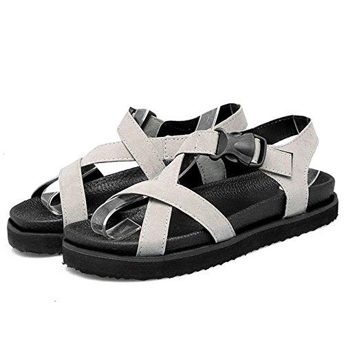 Bout Confortable Plates Strap Gris TAOFFEN Ete Sandales Cross Chaussures Ouvert Femmes qRSSaw7T
