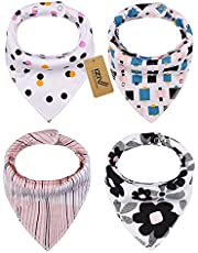 iZiv Baby Bandana Drool Bibs with Adjustable Snaps, Absorbent Soft Cotton Lining 0-2 Years