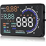 Arestech 5.5 inches A8 Multi-color HUD Head Up Display with OBD2, EUOBD Display KM/h MPH Speeding Warning, Fuel Consumption, Temperature