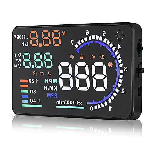 Arestech 5.5 inches A8 OBD2 Windshield HUD Head Up Display with Display RPM MPH Speeding Warning Fuel Consumption Temperature ()