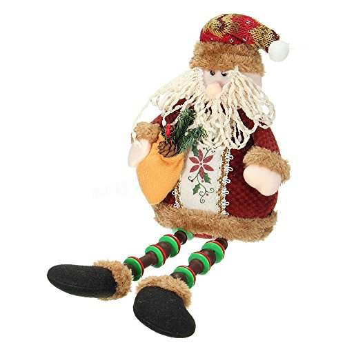 Handmade Christmas Sitting Decoration, Vintage Collectible Soft Plush Snowman and Santa Claus Dolls, Table Décor, Party Décor, Adorable Christmas Stuffed Character Ornaments, 12.5
