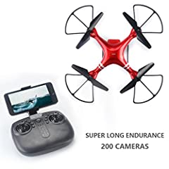 Jujuism 4CH 2.4G Remote Control Quadcopter 720P HD Camera Live Video 120° Wide-angle 4-Axis Gyro System Headless Drone RTF One Key Return Function Red About Product   Suitable for 14 years old and up Color:  Red Appearance material:  ABS Remo...