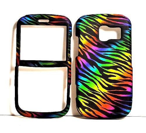 Dark Rainbow Zebra Rubberized Snap on Protective Cover Case for Pantech Link P7040