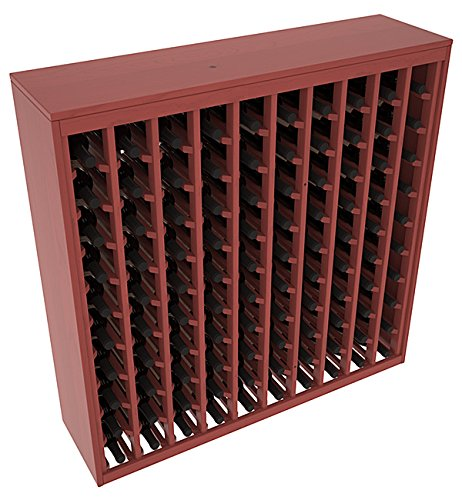 (Wine Racks America Ponderosa Pine 100 Bottle Deluxe. Cherry Stain + Satin)