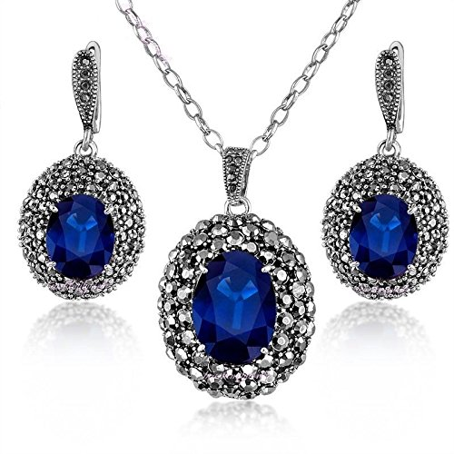 Blazers Jewelry 1985 - Set of Antique Eternity Love - Round Pendant Cubic Zirconia Necklace and Earrings Silver Alloy Party Costume in Blazers Street (Honora Set Necklace)