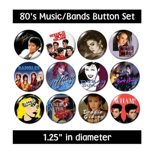 80's MUSIC BUTTONS pins bands groups 1980's eighties new!]()