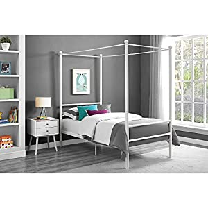 Contemporary Metal Canopy Bed Twin White with Finial Detailing Metal Slat Base Sturdy Metal Frame Solid Metal Feet and an Extra Center Support No Box Spring Needed