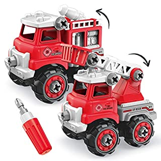 OU Fire Truck Toy,Take Apart Toys with Drill for Boys,Kids Fire Truck Stem Toys for 3 4 5 6 7 Year Old,2 in one DIY Toy Car ,Educational Toys Gifts for Kids