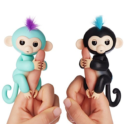Fingerlings Interactive Baby Monkeys 2 Pack  Zoe  Turquoise With Purple Hair   Finn  Black With Blue Hair