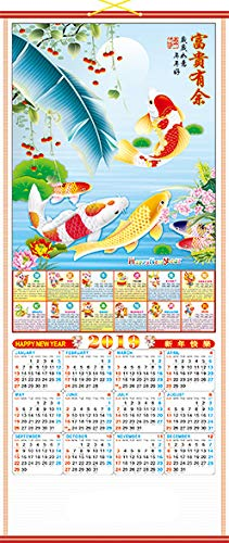 Feng Shui Import 2019 Chinese New Year Wall Scroll Calendar w/Picture of 6-Fish for Lunar Year of Pig