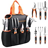 NOUVCOO 7pcs Garden Tools Set for Women Men, Aluminum Alloy Hand Gardening Kit with with Soft Rubberized Non-Slip Handle, Durable Storage Tote Bag and Pruning Shears Garden Gifts