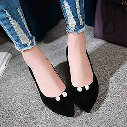 Shoes Womens Pointed Suede Black Faux Mid Easemax Rhinestones Toe Elegant Top Heel Kitten Low Pumps aOBqwnH