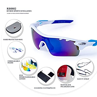 RIVBOS 801 POLARIZED Sports Sunglasses with 5 Interchangeable Lenses Fluorescent Color
