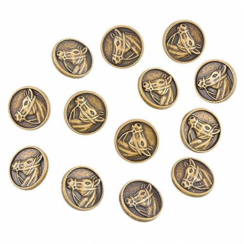 Horse Head Pattern - RainBabe Ancient Bronze Color Horse Head Pattern Round Buttons 20pcs 15mm