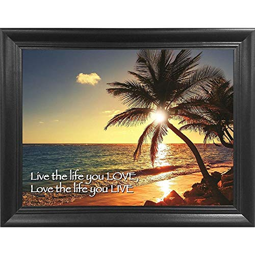 Ocean Beach Sunset 3D Poster Wall Art Decor Framed Print | 18.5x14.5 | Lenticular Posters & Pictures | Memorabilia Gifts for Guys & Girls Bedroom | Nature Landscape Palm Tree & Inspirational Quote