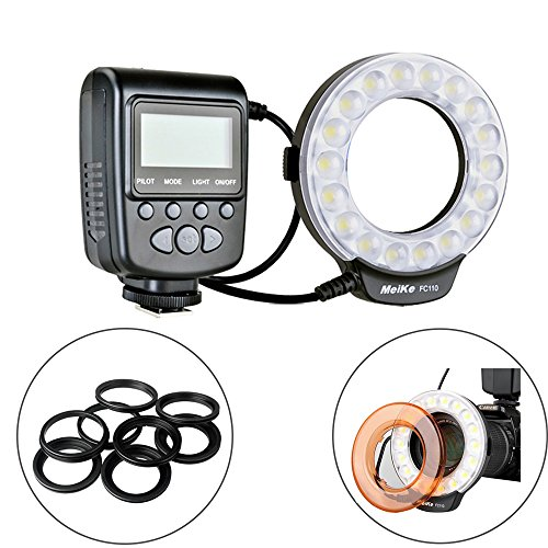 (Meike LED Macro Ring Flash Light for Canon Nikon Sony Olympus DSLR Camera with 7 Adapter Rings)