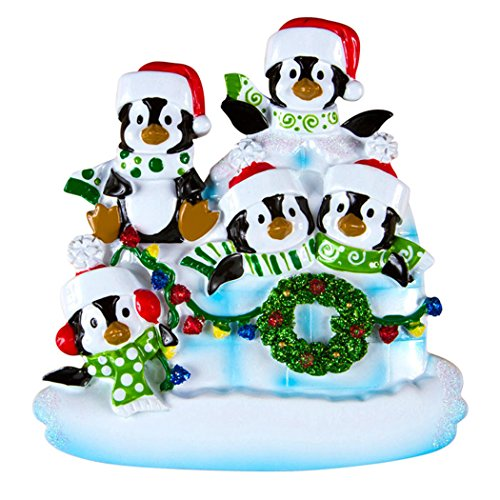 (Personalized Penguin Family of 5 Christmas Tree Ornament 2019 - Children Sibling Friend in Lighten Snow House Tradition Arctic Winter New Home North Pole Gift Year - Free Customization (Five))