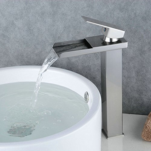 BeeleeFashion Brushed Nickel Waterfall Bathroom Basin Sink Faucet Bathroom Vessel Faucet Single Handle Hot and Cold Water Mixer Tap - Brushed Nickel Vessel Faucet
