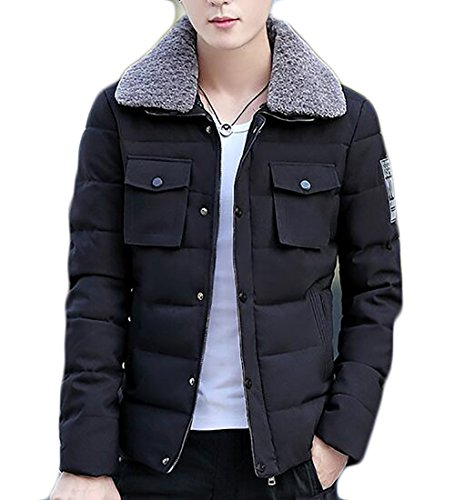 Outwear Fur Mens Collar Winter Warm Down Year uk Faux Padded Black Coat Fly Jacket YwC8qRx