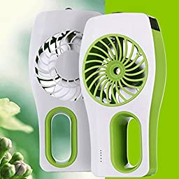 Momoday® 3 Speeds Portable mini USB Rechargeable Cooling Replenishment Fan Powered by 18650 Rechargeable Battery Misty Cooling Hydrating Fan for Hot Summer Outdoor Travelling (Green)
