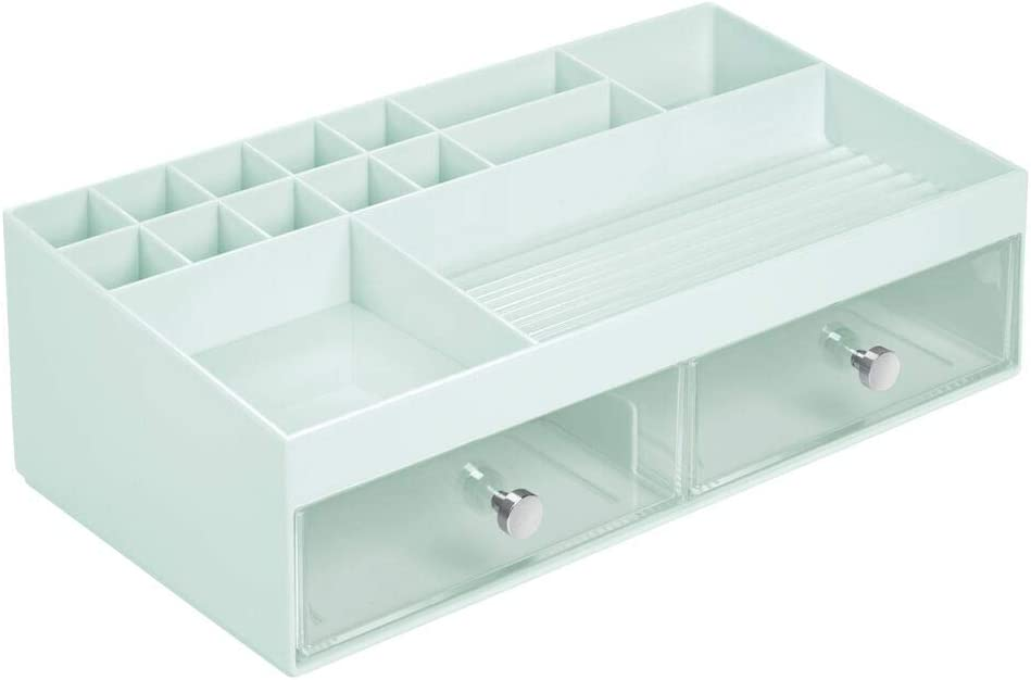 praktische Kosmetik Aufbewahrungsbox mit 2 Schubladen f/ür Nagellack die perfekte Schminkaufbewahrung Puder etc transparent mDesign Kosmetik Organizer