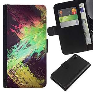 iBinBang / Flip Funda de Cuero Case Cover - Green Pink Yellow Black Spots - Sony Xperia Z3 D6603 / D6633 / D6643 / D6653 / D6616