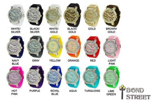 Wholesale Lot of 10 Zebra Face Geneva Silicone Watch 7817