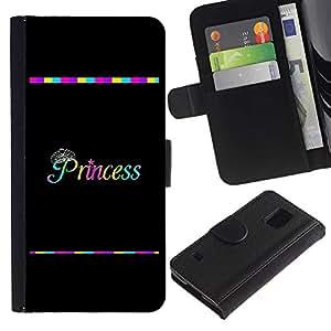 LASTONE PHONE CASE / Lujo Billetera de Cuero Caso del tirón Titular de la tarjeta Flip Carcasa Funda para Samsung Galaxy S5 V SM-G900 / Rainbow Black Text Minimalist