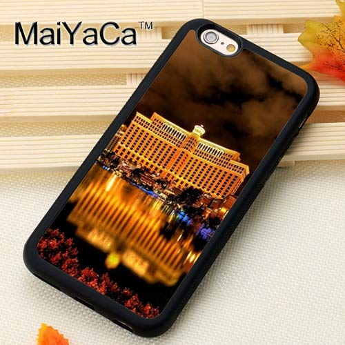 MISC Black Las Vegas iPhone XR Case Bellagio Hotel Cover Water Nightime Lit Up Real Photo Image Picture Night Lights Casino Gambling, Plastic