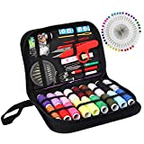 Sewing KIT, XL Sewing Supplies for DIY, Beginners, Adult, Kids, Summer Campers, Travel and Home,Sewing Set with Scissors, Thimble, Thread, Needles, Tape Measure, Carrying Case and Accessories