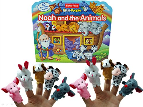 Little People Noah and the Animals Fun Flap book With Ten Finger Puppets Bundle