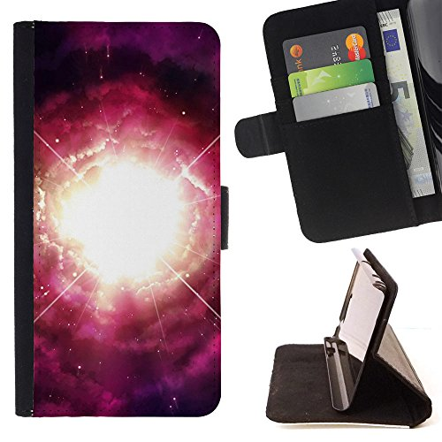 God Garden - FOR Apple Iphone 6 PLUS 5.5 - Nebulae - Glitter Teal Purple Sparkling Watercolor Personalized Design Custom Style PU Leather Case Wallet Fli