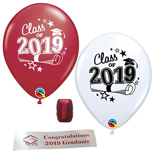 (Class of 2019 Graduation Balloons - 12 Maroon and White Balloons With Curling Ribbon and Bonus Printed Congratulations)