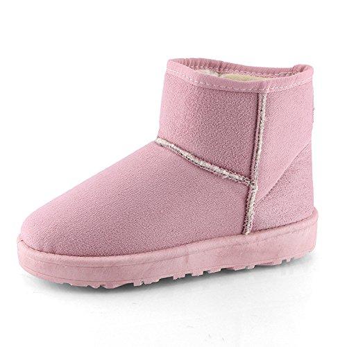 Algodón caliente engrosada zapatos botas de nieve botas cortas de mujeres estudiantes planos cortos de invierno agregar cashmere espesas y cálidas, rosa, 36 36|Pink