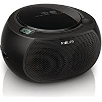 Philips AZ380/85 CD SoundMachine Portable Boombox Stereo USB/AUX MP3 Speaker System with AM/FM Radio and Dual AC/Battery Power Options (6 x C Not Incl.)
