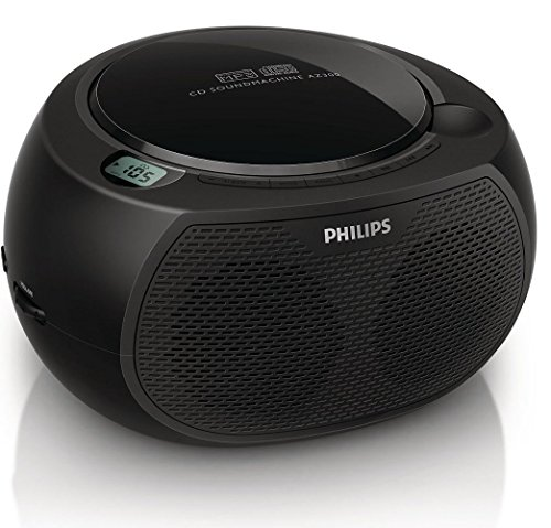 """Philips AZ380/85 CD SoundMachine Portable Boombox Stereo USB/AUX MP3 Speaker System with AM/FM Radio and Dual AC/Battery Power Options (6 x """"C"""" Not Incl.)"""