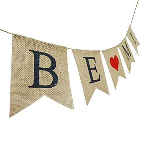 Review BE MINE Burlap Banner